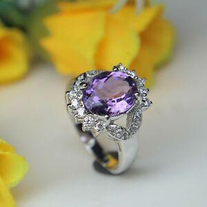 Natural Amethyst Oval Gemstone 925 Solid Silver Women Designer Bridal Ring