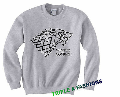 WINTER IS COMING GREY Sweatshirt UNISEX hoodie STARK GAME OF THRONES