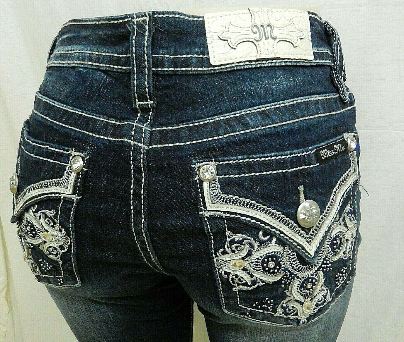 NWT Miss Me M3280T Women's Mid-Rise Straight Leg Jeans Dark bluee Sz W30 x L33