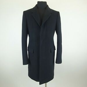Jil Sanders Black Wool 3 Button Taylor Made Lined Peacoat Size 50