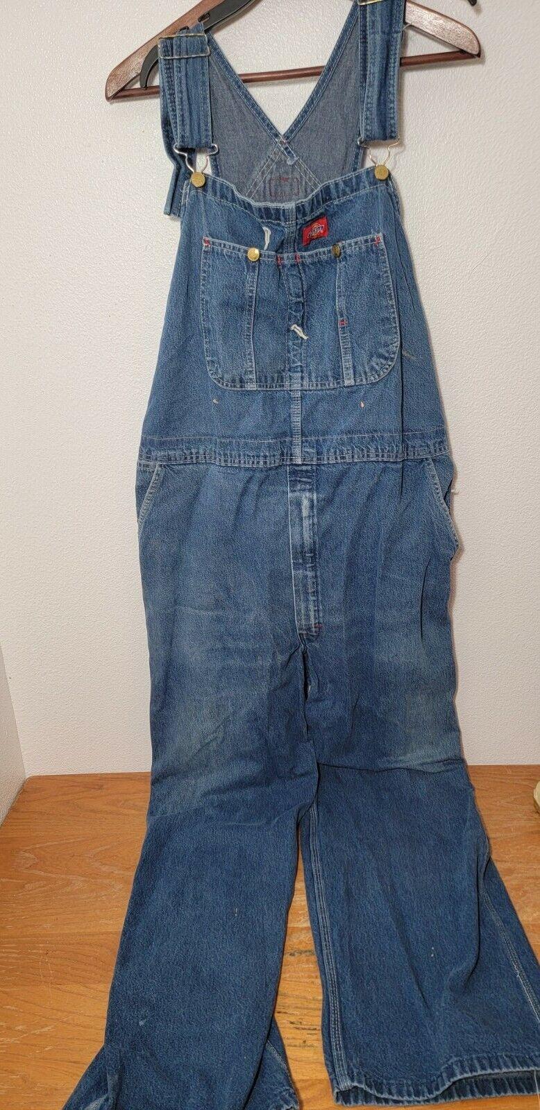 Dickies Bib Overalls Mens Size 44x30 Distressed - image 1