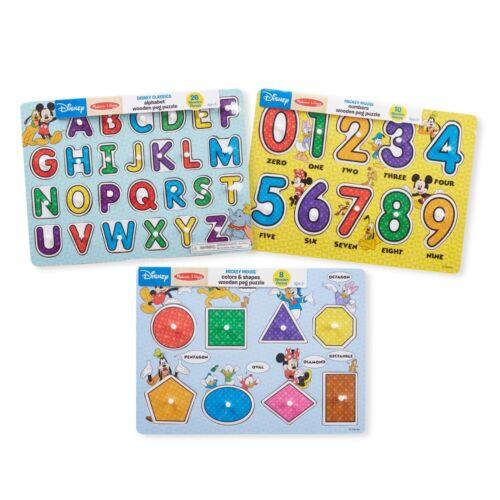 Melissa /& Doug Disney Classics Alphabet Wooden Peg Puzzle,26 Pieces Toy for Kids