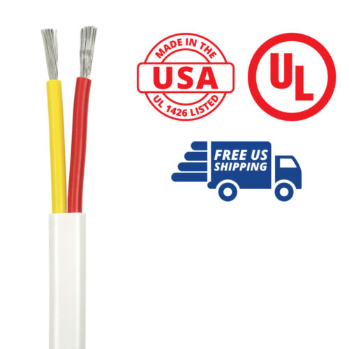USA Made 14//2 AWG Duplex Flat DC Marine Wire Spool - Red//Yellow 50 ft