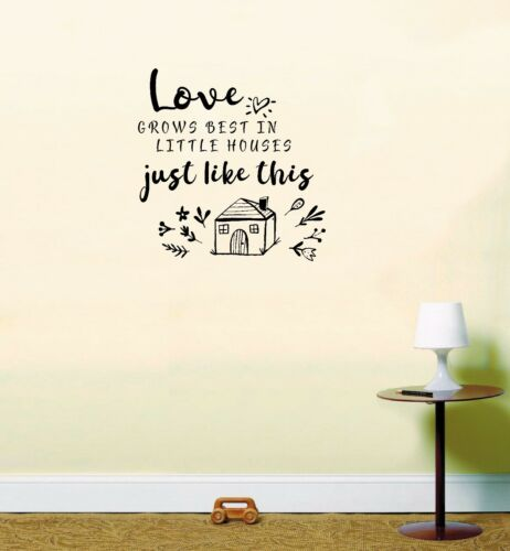 Love Grows Best in Little Houses Bedroom Room Decal Quote Wall Art Sticker