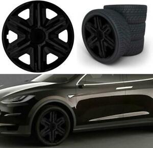 "Wheel Trim cover 15/"" Inch Set of 4 Gloss Black sport trims Universal Fit Hubs"