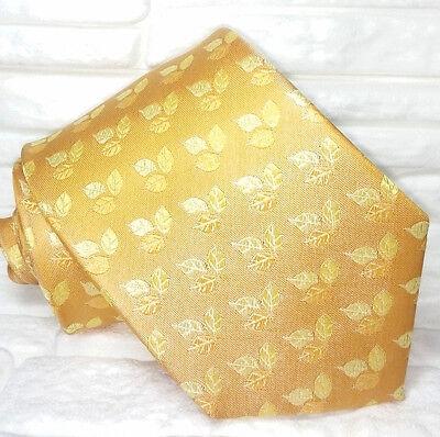 Cravatta Gialla Bronzo Foglie 100% Seta Made In Italy Informale Business Vendita Calda Di Prodotti