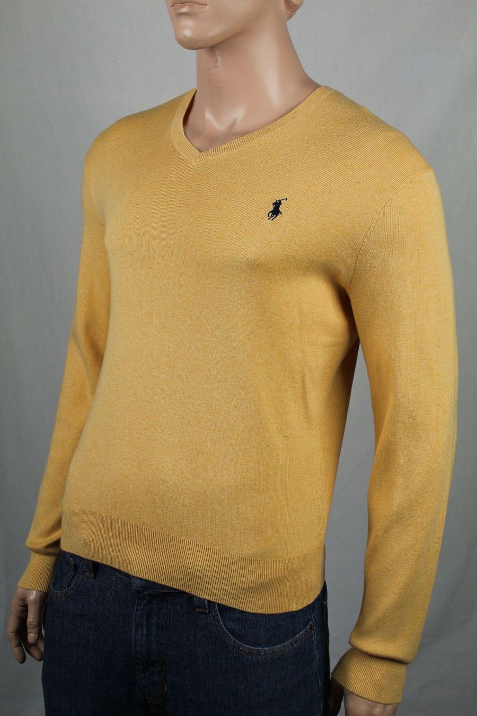 Polo Ralph Lauren Small S Yellow Pima Cotton Sweater Navy bluee Pony NWT