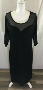 43a8b4ebe3b Women s NWT Mile Gabrielle Sheer Shoulder 3 4 sleeve Black Dress ...