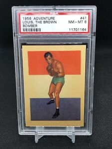 1956-Gum-Products-Inc-Card-Joe-Louis-BROWN-BOMBER-41-PSA-8-Topps-Adventure-RC