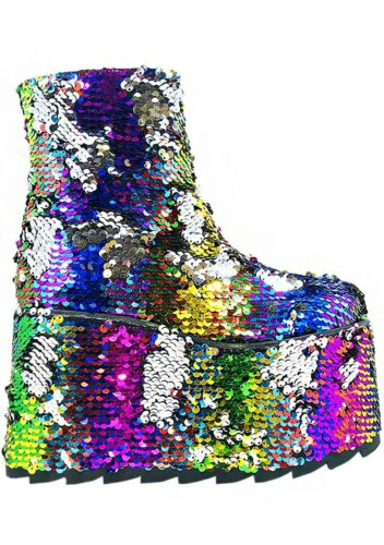 SALE Rave EDM YRU Qomet Prismatic Strut Rainbow Flip Platform Boots NEW Y.R.U
