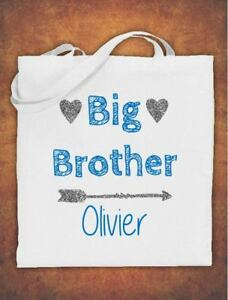 Personalised-Big-Brother-Birthday-Gift-kids-Tote-Bag-children-039-s-Cotton-White