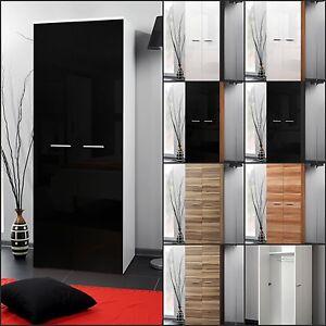 Détails sur Vestiaire Chambre à Coucher Armoire Penderie 2 Portes Brillant  Haut Design Neuf