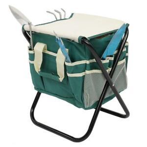 Practical 7Pcs Garden Tool Set Gardening Tools Kit Folding Stool W/ Storage Bag