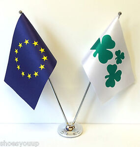 European Union Eu Irland Kleeblatt Flaggen Chrom Und Satin