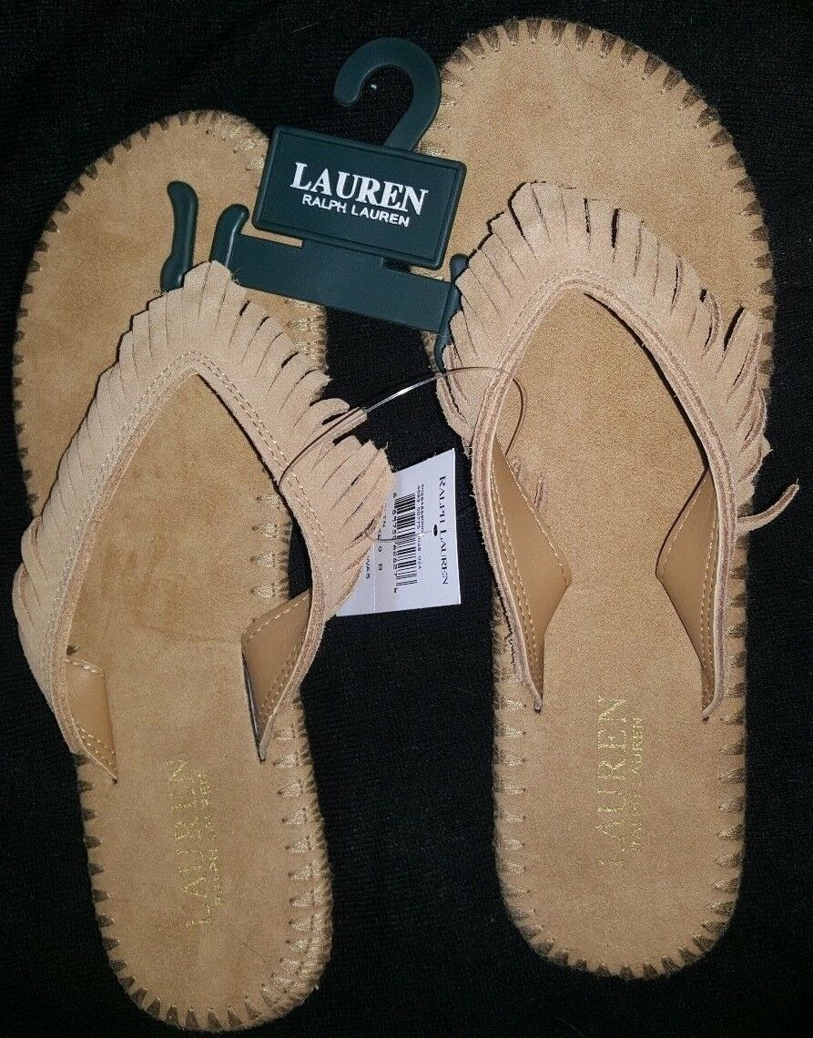 POLO RALPH LAUREN WOMENS SUEDE LEATHER FRINGE FLIP FLOP SANDALS SHOES BEACH TAN