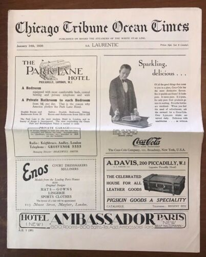 1930 SS Laurentic Chicago Tribune Ocean Times Newspaper White Star Line