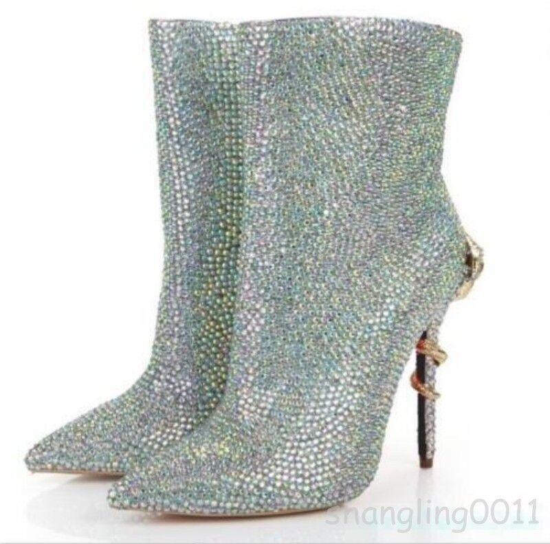 Vestido De Tobillo Novia Moda Mujer Rhinestone puntiagudos botas al Tobillo De Zapatos Taco Alto Boda e79e2f