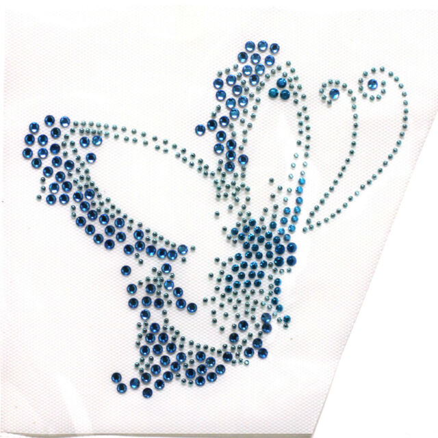 Korea and Rhinestone Iron on Transfer Hot fix Blue Butterfly Clothing design