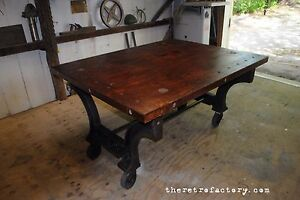 Huge Industrial Table W Cast Iron Machine Legs Amp Reclaimed