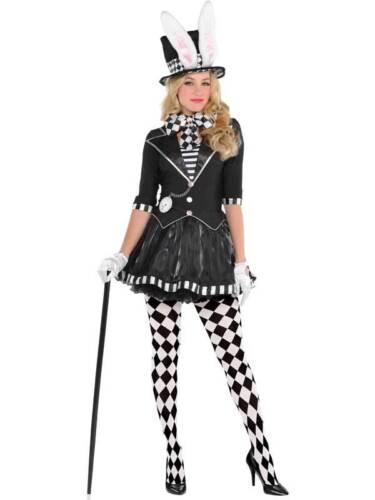 Dark Mad Hatter Costume Ladies UK 8-20 Evil Alice Halloween Fancy Dress Womens