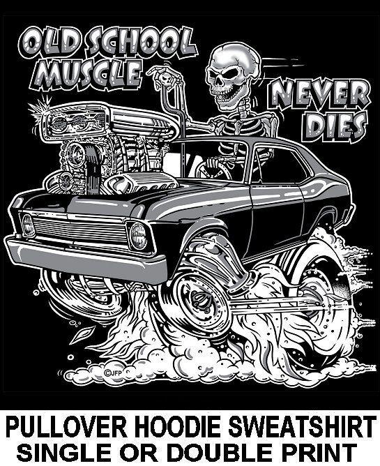 1968-74 OLD SCHOOL MUSCLE HOT ROD DRAG RACE BLOWER CAR SKULL HOODIE SWEATSHIRT