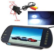 "US-7"" MP5 Bluetooth Car Rearview Mirror Monitor+ 8 LED Lights Car Backup Camera"