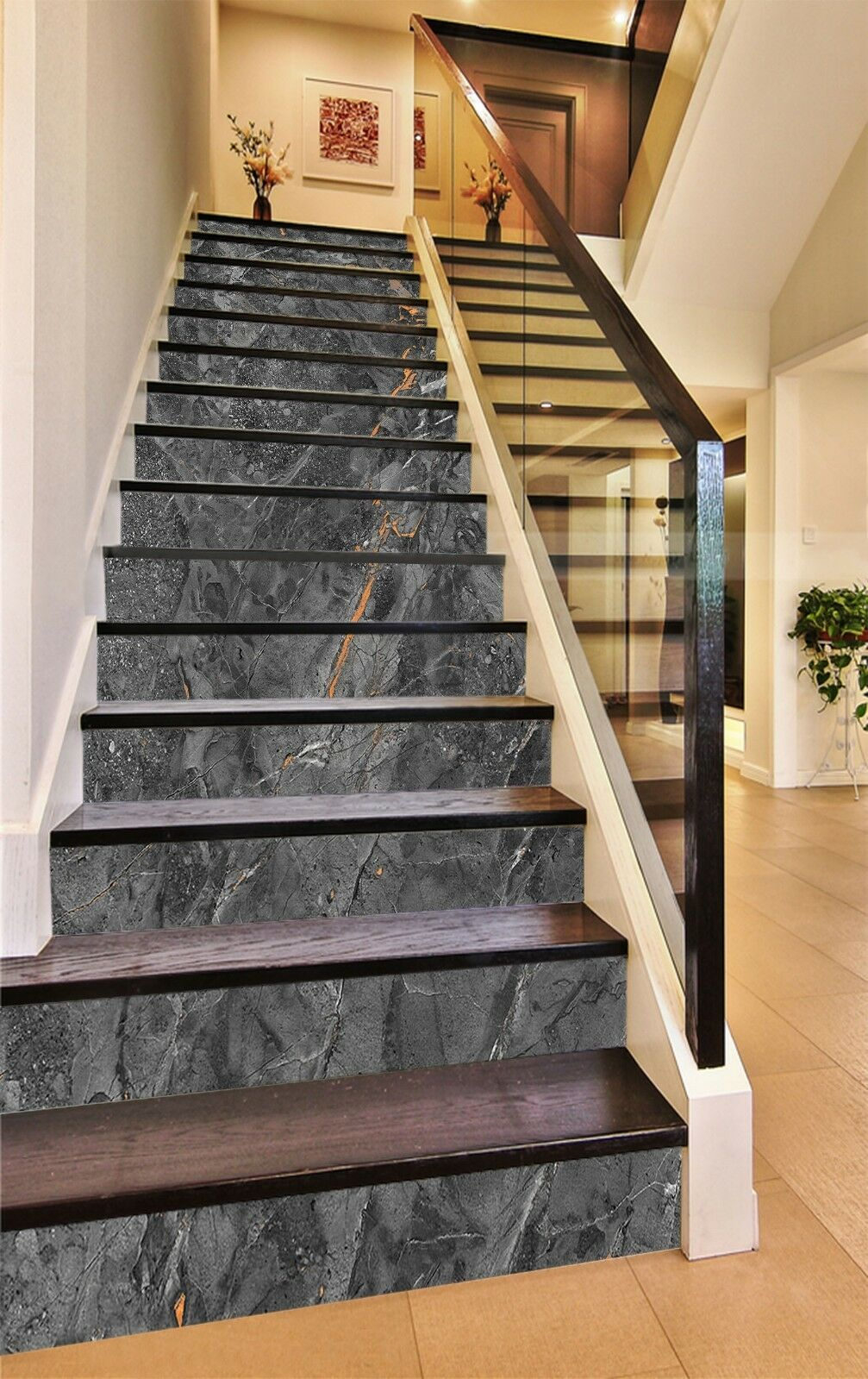3D Graue Farbe Risse 1 Fliesen Marmor Stair Risers Vinyl Tapete Fototapete DE