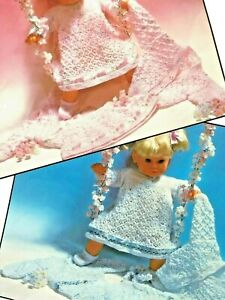 "DOLL  BABY CARDIGAN , DRESS Knitting Pattern DK 16"" CHEST DOLL HEIGHT 22"" -  25"