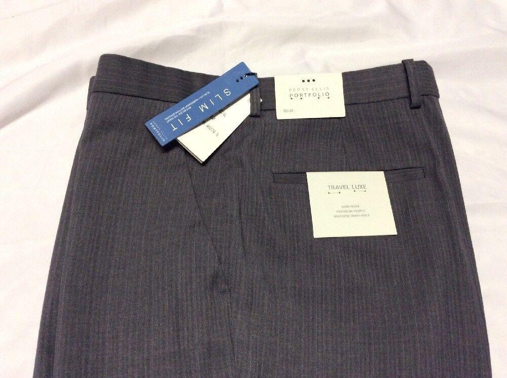 PERRY ELLIS PORTFOLIO SLIM FIT MEN's Pants 33X32 Charcoal