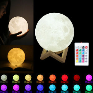 3d Moon Lamp Usb Led Night Light Moonlight Touch Sensor 16 Color Changing Remote 690113065463 Ebay