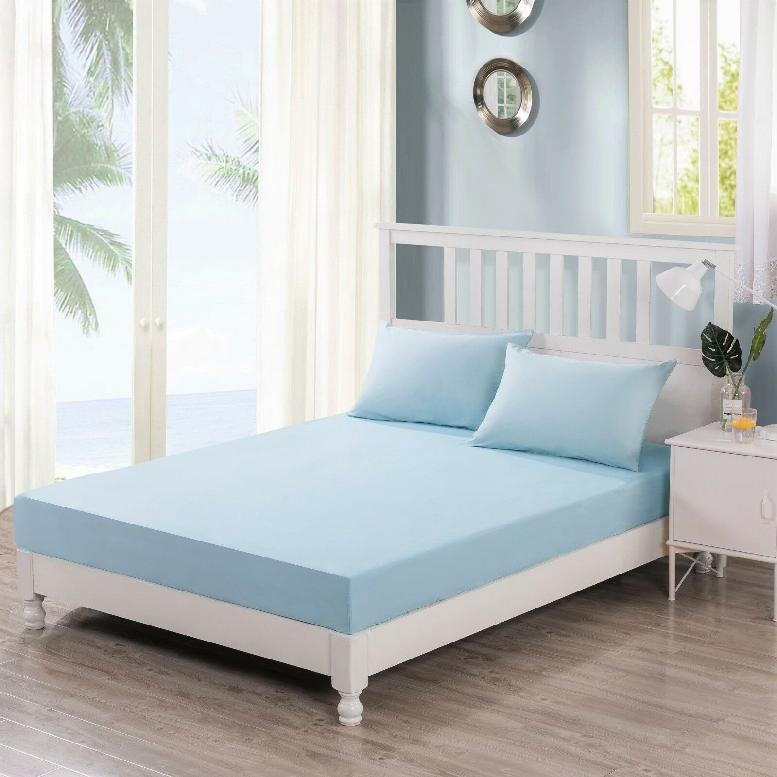 DaDa Bedding SeaFoam Pastel Baby Blau 100% Cotton Fitted Sheet & Pillow Case Set