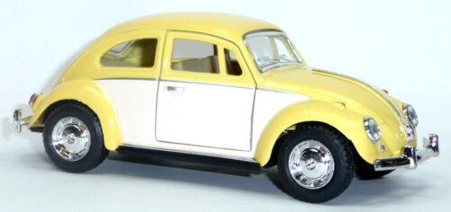 VW Escarabajo maqueta de coche metal moldeo pastellgelb//blanco 12,5cm Kinsmart 1967
