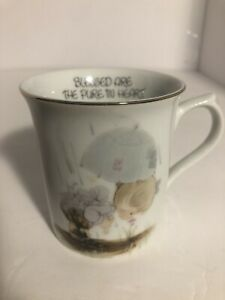 Vintage Precious Moments Tea Coffee Cup Mug Blessed are the Pure in Heart 1984