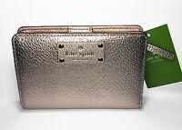 Kate Spade Wellesley Tellie Wallet Rose Gold Textured Leather Wlru2604 on sale