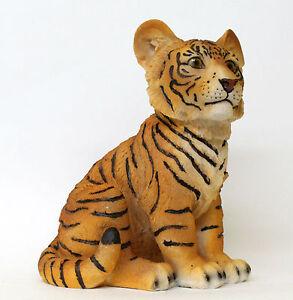 Baby Tiger Figurine Sitting Cub Animal Home Decoration Statue