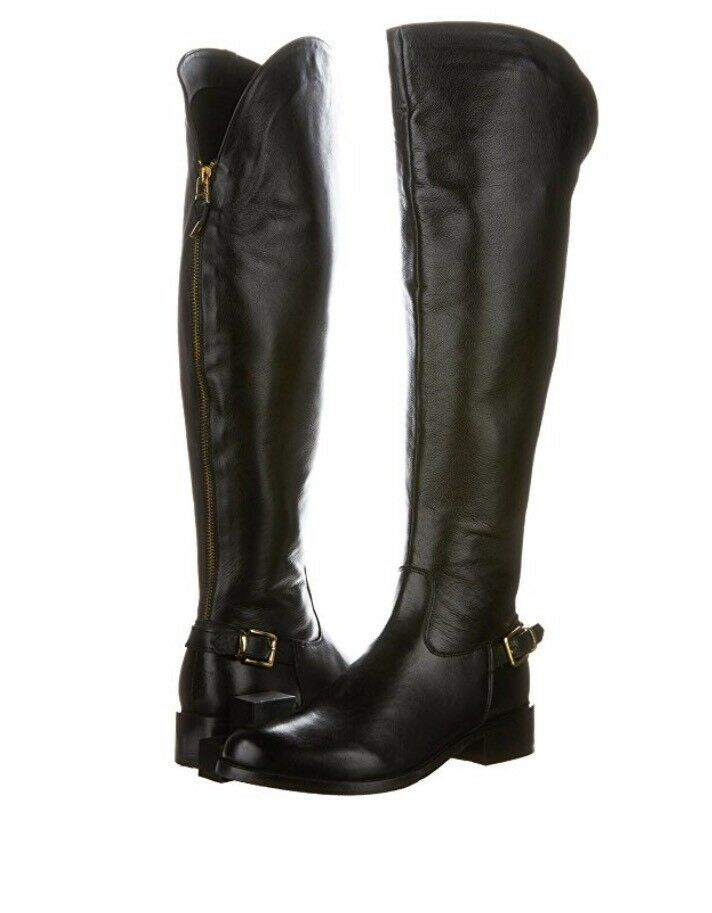 Steve Madden Salie Tall Boots In Black Leather,  Size 38, New In Box