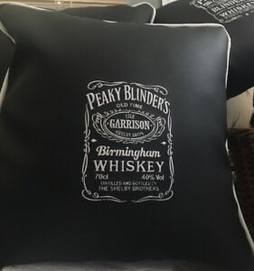 2 X 17 Inch Faux Leather Peaky Blinders  Embroidered Cushion + Inner. Man Cave