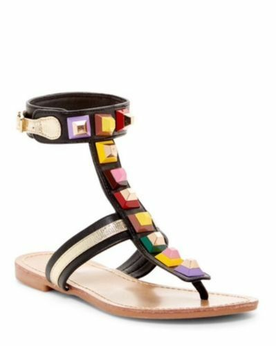 Catherine Malandrino Black Studded  Pista Gladiator Sandals Size 6 New