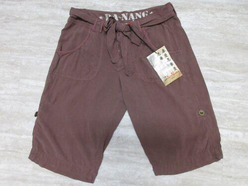 SPW6821 NEW Da-Nang Woven Silk Tie Front Short in Cafe Noir Brown S Small