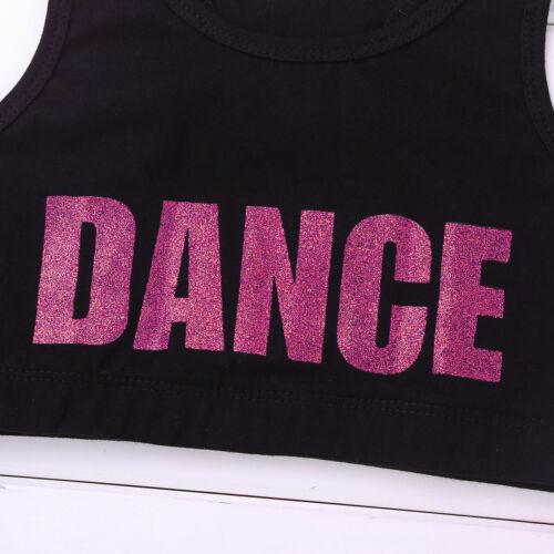 Girls Crop Tops Dancewear Kids Jazz Dance Gymnastics Gym Tank Blouse Performance