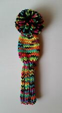 "Multi-NEON/Pom 8"" S Hand Knit GOLF CLUB HEAD-COVER for putter, iron, hybrid"