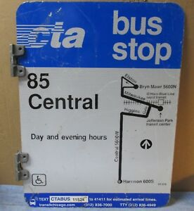 Vtg-Used-2-Sided-CTA-Bus-Stop-85-CENTRAL-Chicago-Aluminum-Sign-24-x-18-S592