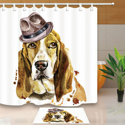 "12hooks 71*71/"" Basset Hound dog and Weathercock Shower Curtain Bathroom Fabric"