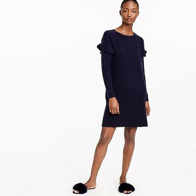 Jcrew Women's Dress Cable-knit ruffle-sleeve sweater-dress Navy Size L L L H2478 c56206