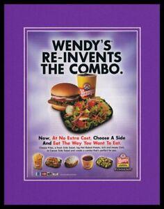 2004-Wendy-039-s-Combo-Meal-11x14-Framed-ORIGINAL-Vintage-Advertisement
