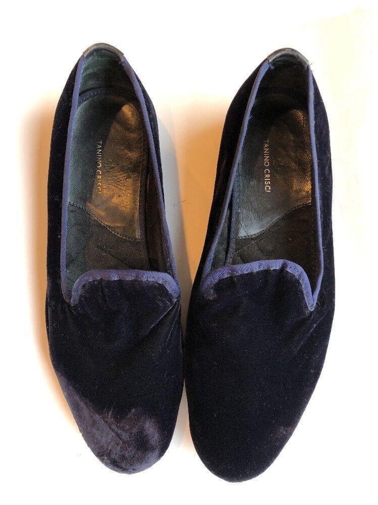 TANINO CRISCI ITALY Men's Smoking Slipper Loafer Rare Navy Velvet 11