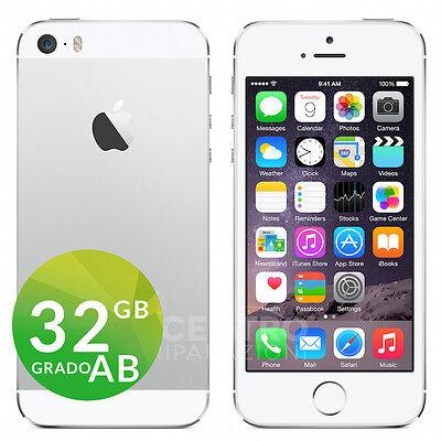 APPLE IPHONE 5S 32GB iOS 9 ORIGINALE SILVER BIANCO ACCESSORI GARANZIA + CORRIERE