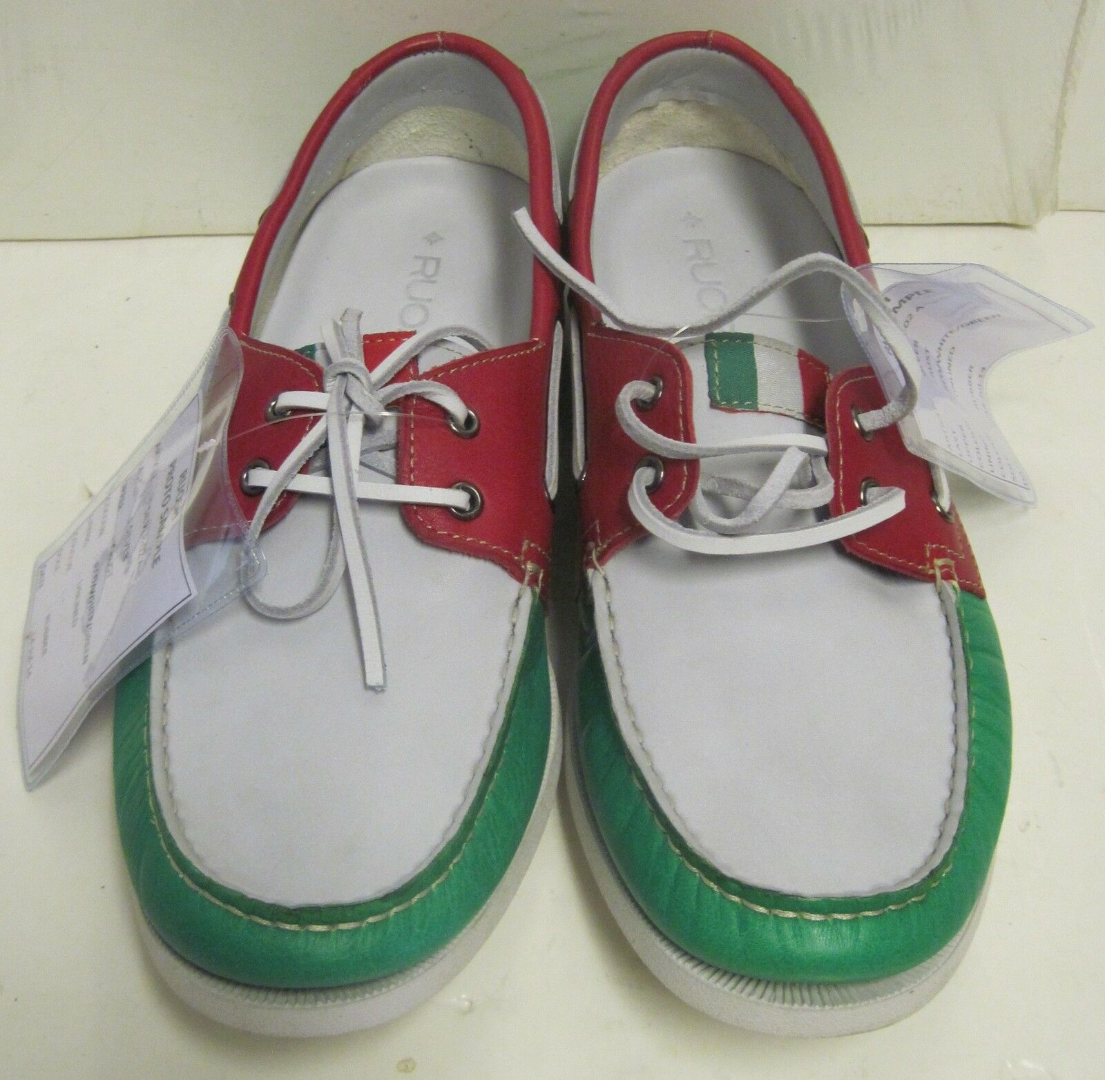 online store 0c109 c1da7 ... Ruosh Deck Prototype Pelle Deck Ruosh Shoes Size 8.5-9 Red White Green  W Italian Flag New ...
