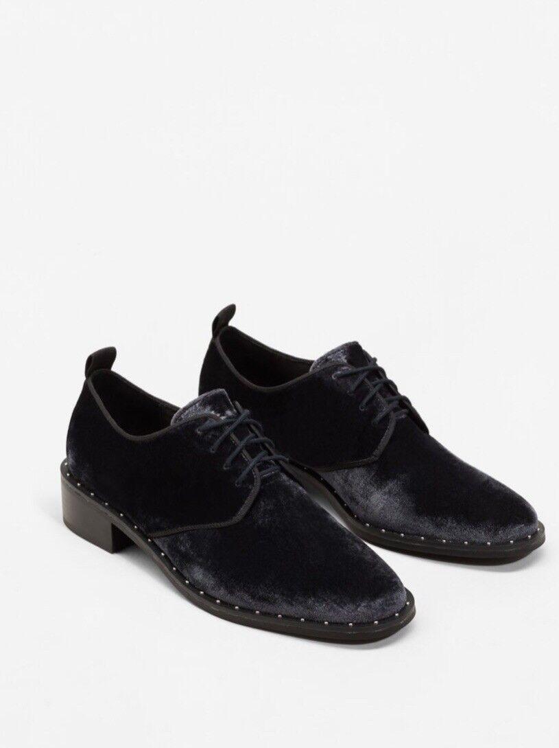 Mango Womens Studded  Black Velvet Brogue shoes - Size 5 BNWT