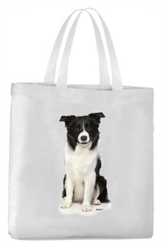 Tragetasche mit Bild Border Collie black bi Hund Beutel Einkaufstasche Tasche